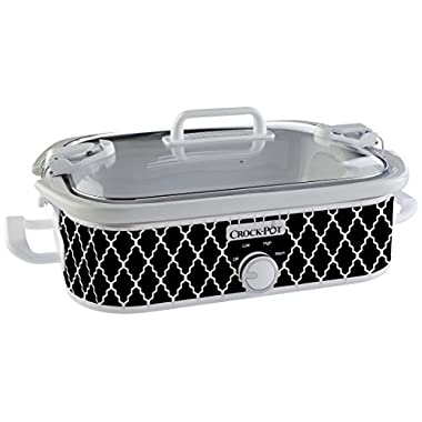 Crock-Pot 3.5-Quart Casserole Crock Manual Slow Cooker, Black and White, SCCPCCM350-BW