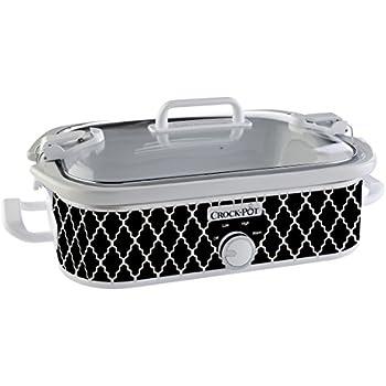 Crock-Pot 3.5-Quart Casserole Crock Manual Slow Cooker, Black and White