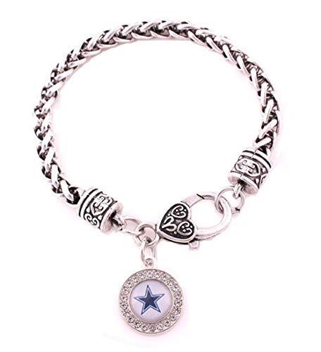 BAS Dallas Cowboys Zinc Alloy Bracelet with Round Rhinestone Dallas Cowboys Charm 7 inch -