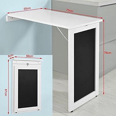 SoBuy®- Mesa plegable de pared con pizarra de notas FWT20-W. De ...