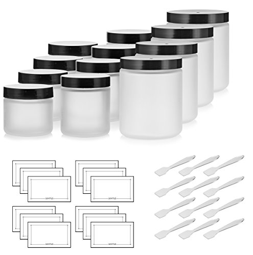 12 Piece Frosted Glass Straight Sided Jar Starter Kit Set: Includes 4-2 oz Frosted Glass Jars, 4-4 oz Frosted Glass Jars, 4-8 oz Frosted Glass Jars + Spatulas and Labels