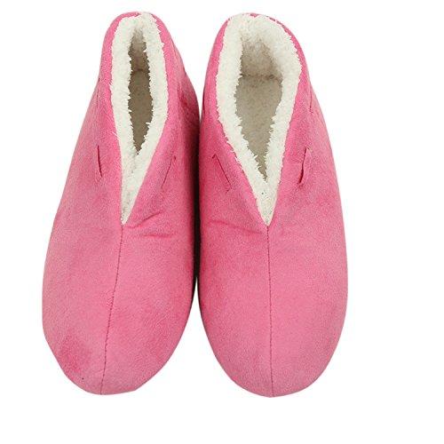 Pantofole Donna Da Passeggio Caldo Peluche Antiscivolo Antiscivolo Su Scarponi Da Interno Scarpe Da Casa Luce Rosa Rossa