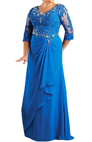 M Bridal Women's Rhinestones Appliques Half Sleeve V-neck Long Mother Dress Blue Size 17
