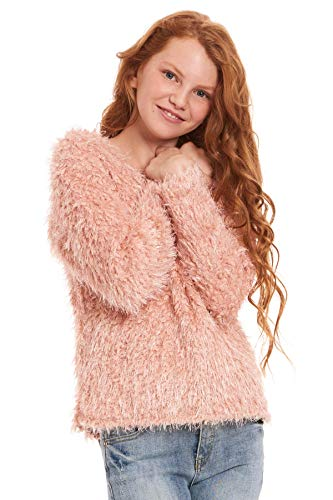 Truly Me, Big Girls Outerwear Jackets, Cardigans, Sweaters (Many Options), 7-16 (7, Pink Faux Fur) (Pink Cardigan Sweater Girls)
