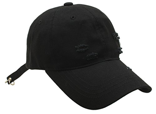 Men Women Distressed baseball cap Long Strap Vintage Street Style Ripped Curved Brim Hat (One size, Black)
