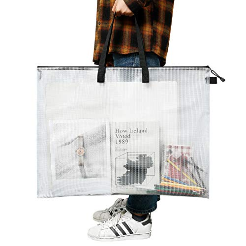 Painting Bulletin Boards Art Portfolio Bag Poster Storage Bag Board Holder with Handle and Zipper 19 x 25 Inch Organizer Transparent Bag for Large Posters Poster Board Black, 1 Pack