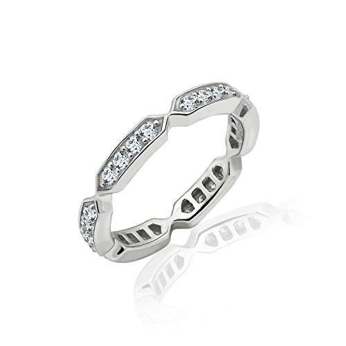 - Diamonbliss Sterling Silver or 14K Gold Clad Station Eternity Band Ring - Sterling Silver, Size 7