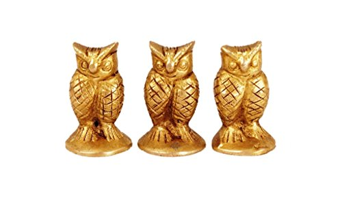 Indian Art Villa 1.4″ X 1.0″ Handmade Old Vintage Collectible Brass Set of 3 Owls Figure Figurine Paperweight Gift Item