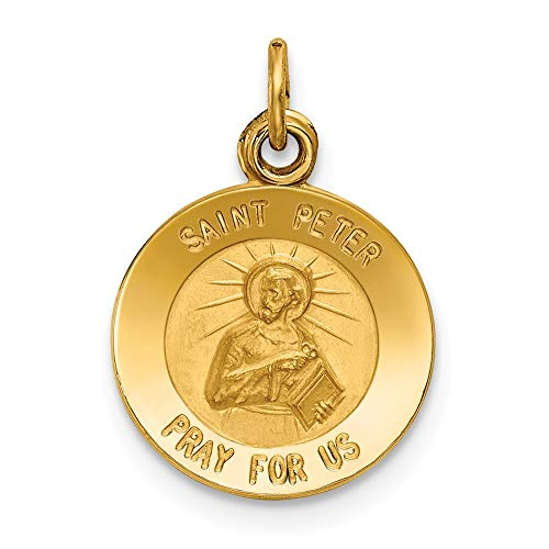 14k Yellow Gold Saint Peter Medal Pendant Charm Necklace Religious Patron St Fine Jewelry Gifts For Women For Her ()