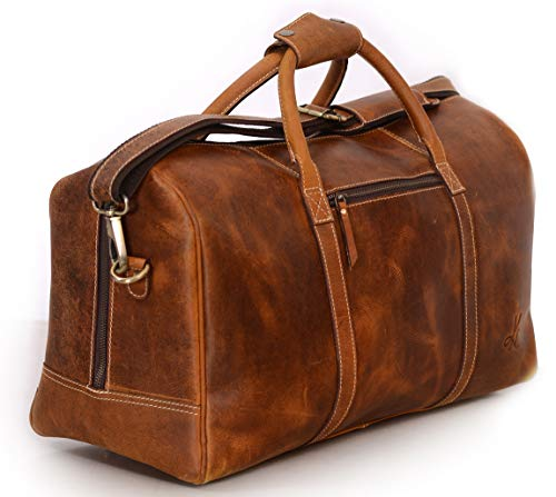 Leather Duffel Bag Travel Gym Sports Overnight Weekend cabin holdall by ()