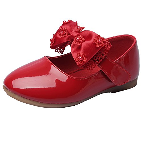 MAXU Little Girls Adorable Mary Jane Dress Shoes,Red,Toddler,8M by MAXU