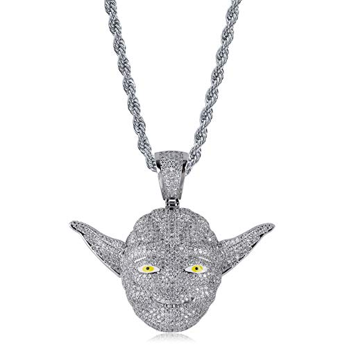 Iced Out Simulated Diamond Hollow Star Wars Master Yoda Pendant Necklace for Boys Hip Hop (Silver Yoda)