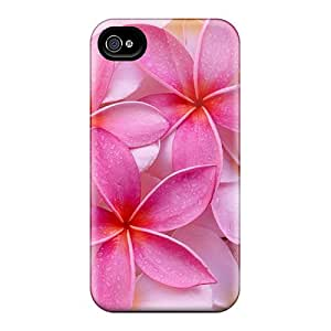 Shock Absorption Hard Phone Case For Iphone 4/4s With Unique Design Colorful Tropical Plumeria Pattern ErleneRobinson