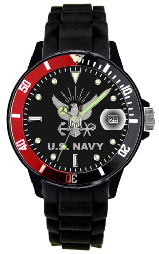Aqua Force Red/Black Rotating Bezel Navy Plastic Case with Date/Silicone Strap by Aqua Force