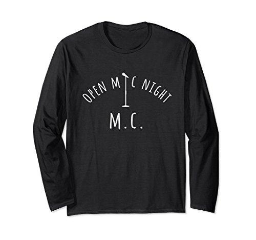 Unisex Open Mic Night M.C. Long Sleeve T-Shirt Small Black