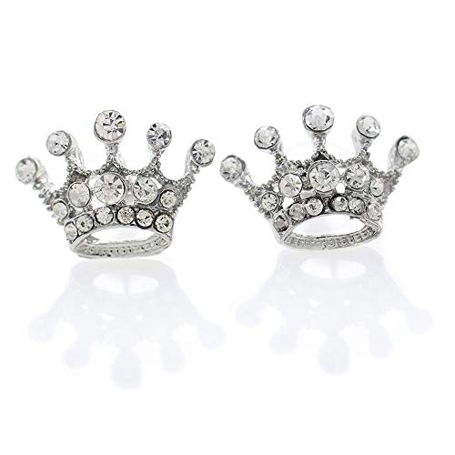 Clear White Princess Crown Earrings Tiara Stud Post Style Costume Birthday Event Fashion Jewelry