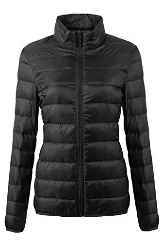 Girls Jacket Puffer Hooded (Fantiny Women's Ultra Light Weight Collar Down Jacket Packable Short Outwear Puffer Coats with Travel Bag,UI18WYRF027,Black,XXS)