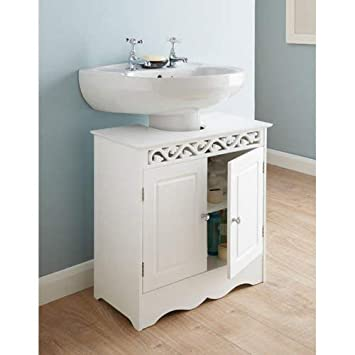 Admirable G 0108 Saxony Beautifully Carved Design Under Sink Cabinet Bathroom Storage Unit White Beutiful Home Inspiration Ommitmahrainfo
