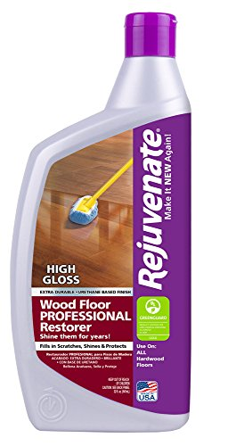 High Shine Finish (Rejuvenate Professional Wood Floor Restorer with Durable High Gloss Finish Non-Toxic Easy Mop On Application - 32 Ounces)