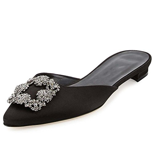 Gorgeous Black Satin Rhinestone Sandals - Mavirs Mule Slippers for Women, Womens Satin Rhinestones Flat Sandals Pointed Toe Jeweled Embellishment Slides Sandals 9M US