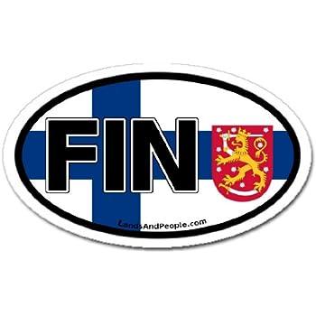 Amazon.com: Finland FIN and Finnish Flag Car Bumper Sticker Decal Oval: Automotive