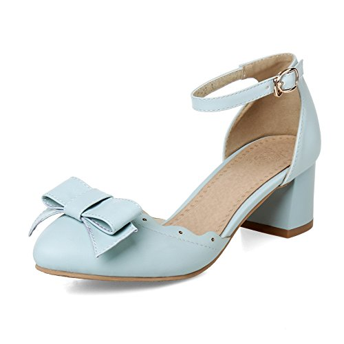 Balamasa Ladies Spun Gold Bowknot Lace OrnaHombrest Tobillo Cuff Imitated Leather Pumps-shoes Blue