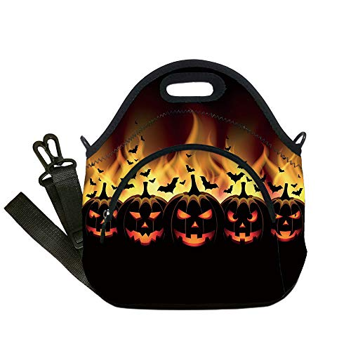 (Insulated Lunch Bag,Neoprene Lunch Tote Bags,Vintage Halloween,Happy Halloween Image with Jack o Lanterns on Fire with Bats Holiday Decorative,Black Scarlet,for Adults and)