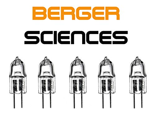 Five Pack 6V 30W Halogen Light Bulb JC6V-30W/G4 Lamp for Nikon, Zeiss, Olympus, Leitz, Accu-Scope and Amscope Microscopes. -  Berger Sciences, JC G4 6V 30W