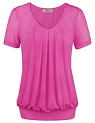 Timeson Womens V-Neck Short Sleeve Pleated Front Fitted Tunic Blouse Top