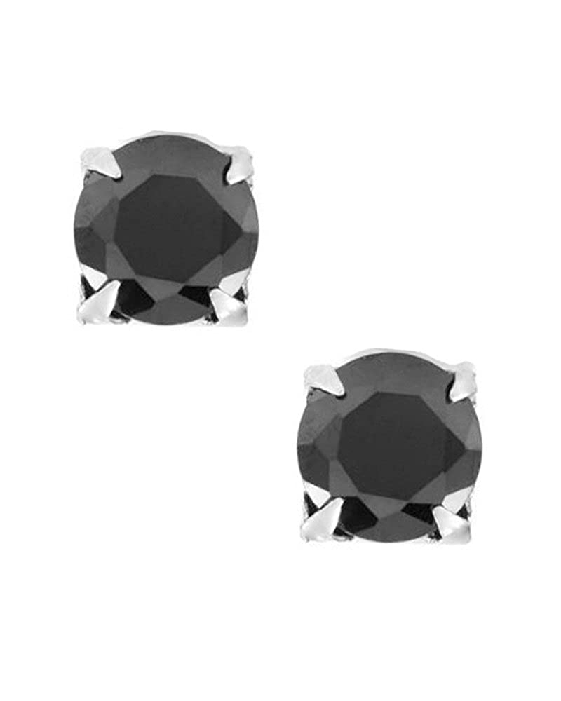 Black Round Cut CZ Cubic Zirconia Magnetic Men Stud Sterling Silver Earrings 5mm iJewelry2 IS-MGCZ-BlkRnd-5mm