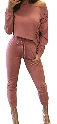 Jiujiuyi Women's Long Sleeve Ripped Crop Top and Pants 2 Pieces (Crop Set)