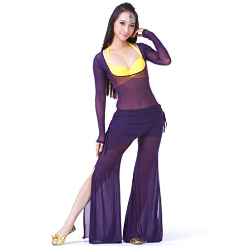 Water Yarn Supporting Chest Long Sleeve Suit Belly Dance Costume Siamese Belly Dance Clothes (Purple)]()