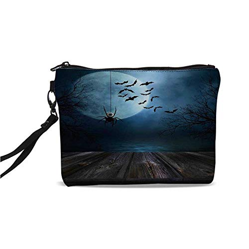 (Halloween Decorations Simple Cosmetic Bag,Misty Lake Scene Rusty Wooden Deck Spider Eyeball and Bats Moonlight for Women,9