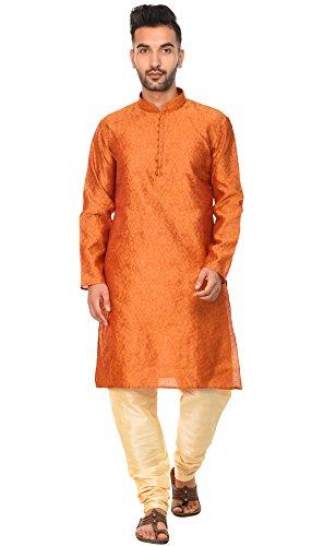SKAVIJ Men's Tunic Art Silk Kurta Pajama Set Indian Party Wear (X-Large, Brown)