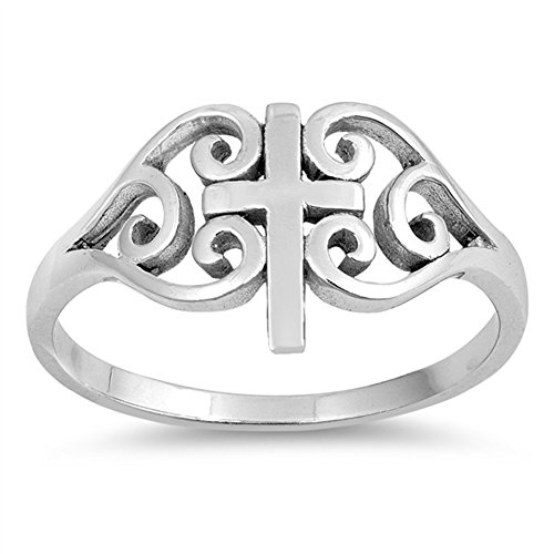 Sterling Silver Filigree Cross Ring - Oxidized Filigree Swirl Cross Heart Ring .925 Sterling Silver Band Size 8