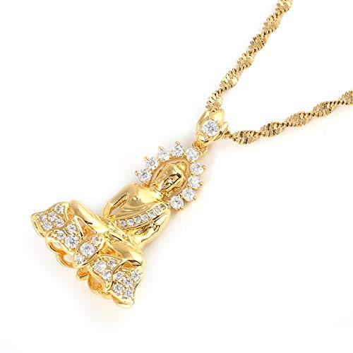 CB Gold Jewelry Vintage Tibetan Amitabha Buddha Pendant Buddhist Necklace Nirvana Meditating Necklace ()