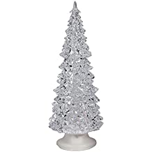 """Color Changing LED Christmas Tree Decoration - 8"""" h Acrylic Battery Operated Light Up Holiday Decor"""