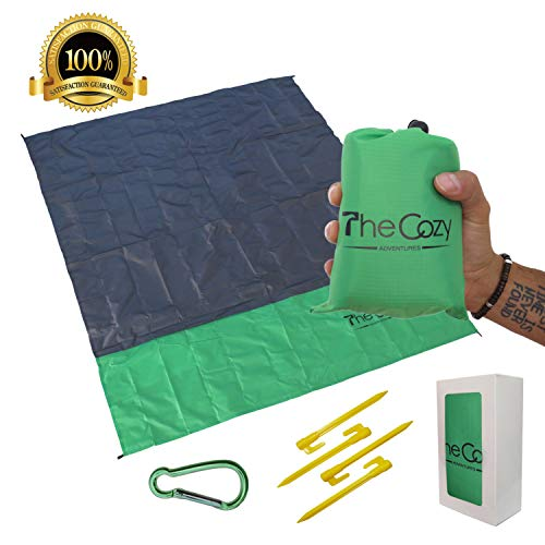 TheCozy Adventures Sand Free Compact Beach Blanket - Pocket Picnic Sheet for Outdoor Multiple Use | Best Mat for Travel & Festivals, Soft & Quick Drying with 4 Portable Hiking Sticks (Pine Green)