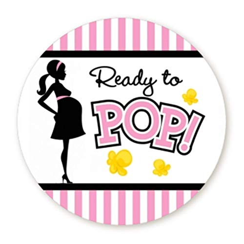 (Classic Ready to Pop Stickers | Ready To Pop Baby Shower Stickers for Popcorn | Ready to Pop Stickers for a Girl or boy (Pink, 2.0