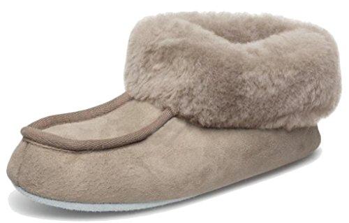 Pelo Flessibile Pantofole Cuoio Suola Di Moa Grigio Talpa wxXU6v