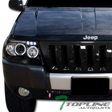 Topline Autopart Glossy Black Vertical H2 Style Front Hood Bumper Grill Grille 99-03 Grand Cherokee (99 Grand Cherokee Grille Guard compare prices)