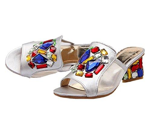 HooH Bling Chunky Peep Sandales Diamond silver Toe Mesh Femmes 6E7qw6r