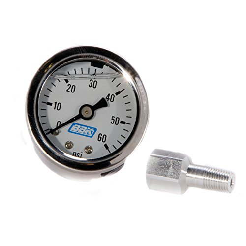 BBK 1617 Fuel Pressure Gauge - Liquid Filled With Fuel Rail Adapter for Fuel Injected Ford Mustang 5.0L - (Mustang Fuel Pressure Regulator)