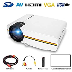 Fomeil Led Mini Projectors 150 Portable Lcd Hd Projector Home Theater Support 1080p With Hdmi Vga Usb Sd Av Input For Dvd Player Smartphone Laptop White