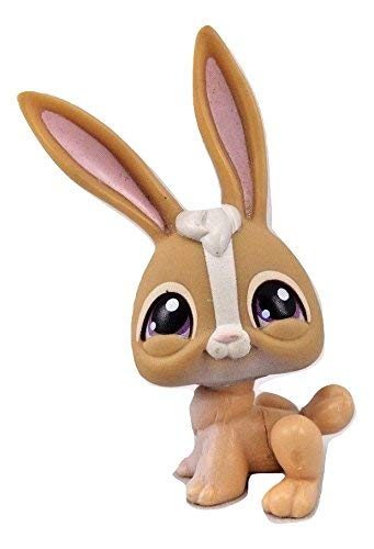 Littlest Pet Shop Tan White Long Ear Bunny Purple Eyes #28 Replacement Part Loose/Packaged in Parts Bag (Littlest Pet Shop 28)
