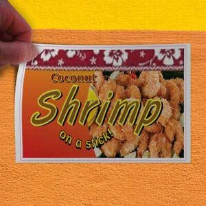 KARPP Decal Sticker Coconut Shrimp Restaurant Cafe Bar Restaurant & Food Store Sign (7 inch x 5 inch) for Home, Car Bumper, All Weather Indoors Outdoors (Best Coconut Shrimp Restaurant)