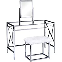 HOMES: Inside + Out Idf-DK6707CRM Ensta Geometric Vanity Table with Stool, Chrome