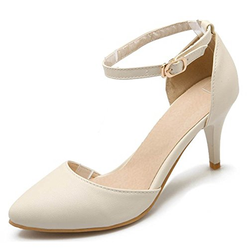 CHFSO Womens Pointed Toe Solid Stiletto Ankle Strap Pumps Shoes Beige i6PiWmZAbN