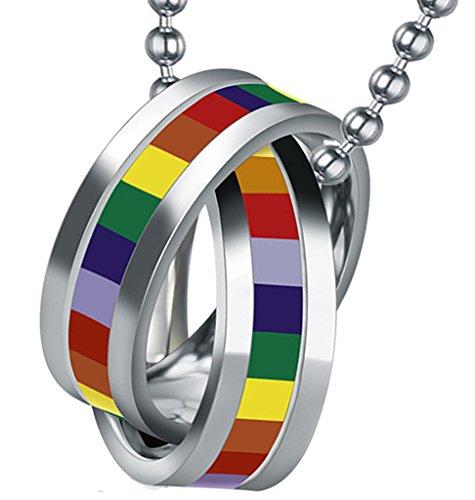 (KnSam Stainless Steel Necklace Men/Women Pendant Necklace Stainless Steel Rainbow Pride LBGT Double Rings)