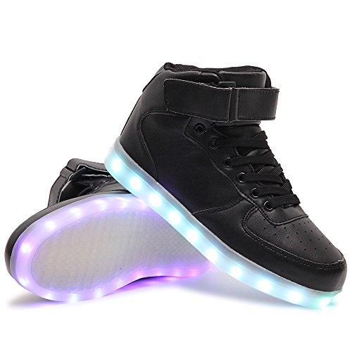 HuskSware Couple Adultos Niño Top 7 Colores Light Up LED Deporte Zapatillas Niña Carga del USB Zapatos Hombre Unisex High-top Negro